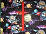 In Space cotton fabric by the half yard Elizabeth Studios planets solar system outer space