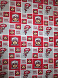 Ohio State University cotton fabric by the half yard NCCA college team Buckeye