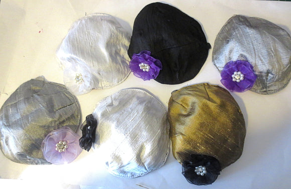 Silk small kippah with accent flower pearls rhinestone