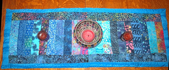 Batik quilted insulated Table Runner Turquoise Blues