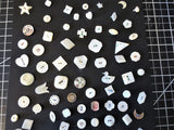 "Antique and Vintage carved Mother of Pearl buttons set on card 70 all different gorgeous pearls dimunitive to medium 3/8"" to 3/4"""