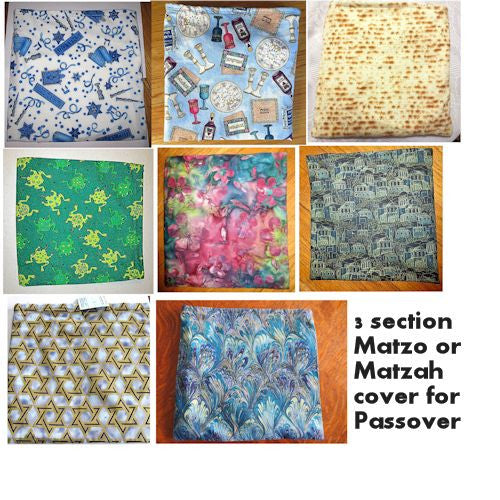 Matzoh case holder with three sections for a beautiful Seder table --- holds standard matzos