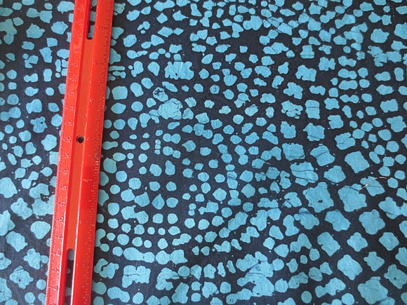 Batik animal skin like blues turquoise cotton fabric navy blue background by the half yard