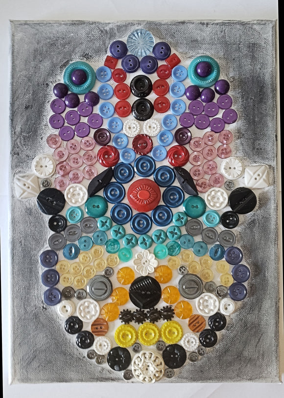 Hamsa multicolored button art work with vintage buttons on canvas Hand of Miriam