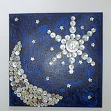 Crescent Moon Star of David button art work