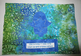 Batik Hamsa blues green Challah cover Shabbat Hebrew HaMotzi blessing reversible