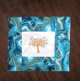 Golden Tree of life Modern Challah Cover embroidered Hebrew Shabbat Shalom metallic agate turquoise fabric