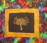 Golden Tree of life Modern Challah Cover embroidered Hebrew Shabbat Shalom arty paint brush fabric