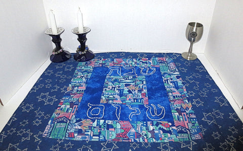 Quilted log cabin style Challah cover hand embroidered Shabbat Shalom blues pinks teals Judaica gift