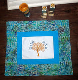 Turquoise Modern Challah Cover embroidered golden Tree of Life Hebrew Shabbat Shalom mottled batik
