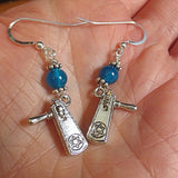 Gemstone silver charm earrings for Purim hamantaschen and groggers -- sterling silver and gemstone choice