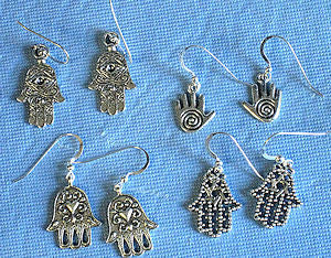 silver hamsa handmade earrings