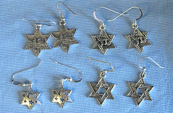 Star of David silver charm earrings sterling silver ear wires --- 4 types to select from