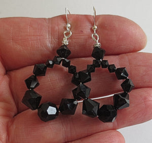 Black Swarovski Crystals hoop earrings classic black