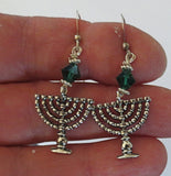 Hanukkah Swarovski silver earrings Menorahs and Dreidels sterling ear wires