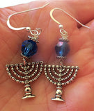 Hanukkah or Chanukah Swarovski crystals silver earrings Menorahs and Dreidels sterling ear wires