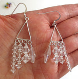Clear Swarovski Crystals chandelier earrings sterling silver bohemian styling