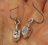 Hanukkah or Chanukah simple silver earrings --- Menorahs and Dreidels