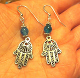 Filagree Hamsa earrings with gemstones sterling silver ear wires components Hand of Fatima choice of gemstones great gift under 30 dollars