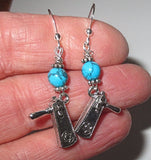 turquoise grogger silver earrings