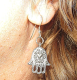 Hamsa Hand Earrings  Chamesh or Hand of Fatima silver charm jewelry