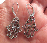 Hamsa Hand Earrings -- also know as Chamesh or Hand of Fatima ---silver interesting charms with sterling silver