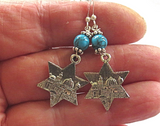 Star of David earrings with gemstones Jerusalem scene