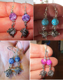 Knitting theme silver earrings -- plain or with gemstones -- yarn with needles
