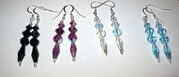 Long dangle Swarovski crystal sterling silver earrings elegant earrings choice of crystal Bridal wear gift