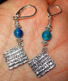 Gemstone silver charm earrings for Passover Seder Plates, Matzah, Haggadah -- sterling silver and gemstone choice