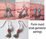 Purim hamentashen or groggers gemstone earrings