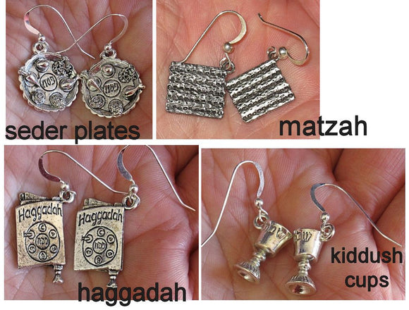 Judaica Spring Holiday Earrings -- Purim Groggers, Hamentaschen, Passover seder plates, haggadah, matzo ---silver interesting charms with sterling silver