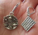 Passover theme silver earrings