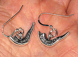 Jewish High Holiday Judaica silver earrings with sterling silver ear wires:  Shofars, apples, honey pots, pomegranates