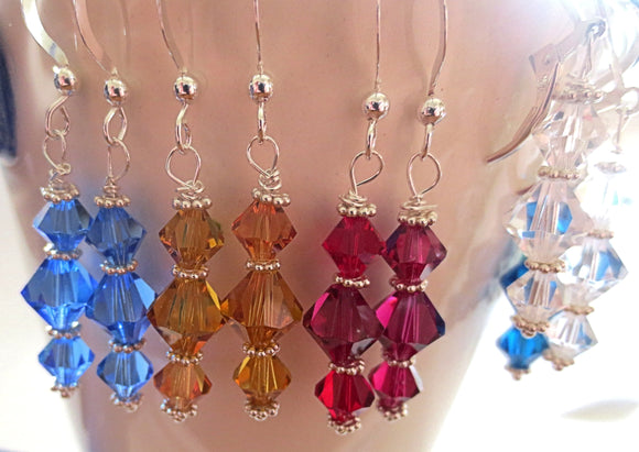 Swarovski crystal earrings all sterling silver birthstone crystal earrings choose your crystal color wonderful gift for under 30 dollars