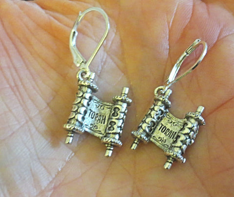 Jewish High Holiday Judaica Silver Earrings With Sterling