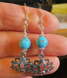 Lotus Flower silver earrings plain or with gemstones