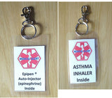 Medical alert tag Epipen ® Auto-Injector (epinephrine) Inside laminated tag-- with options to select  including personalizationfrom