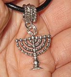 Hanukkah or Chanukah simple silver pendants --- Menorahs and Dreidels