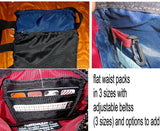 Flat zippered waist packs weather proof fanny bags -- select from 3 sizes, 3 adjustable waist sizes, and options to add