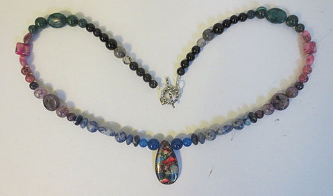sea sediment jasper gemstones necklace
