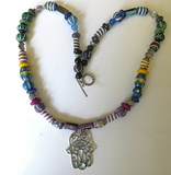 Hamsa tribal beads statement gemstone necklace Bohemian style