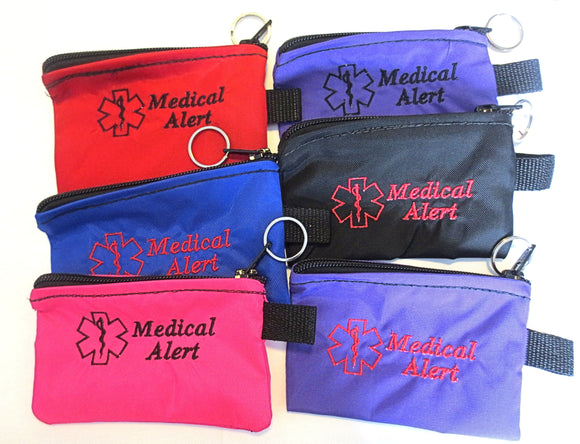 Inhaler cases carriers small size embroidered medical alert label medication holders