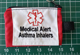 Asthma Medical alert cases carriers small, medium, or large size embroidered label medication holders