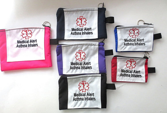 Asthma Medical alert embroidered cases carriers small, medium, or large size