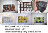 Patterned Face mask all cotton tight weave double thick soft adjustable ties 2 layers breathable allergies washable