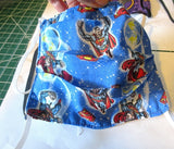 Superheros Face mask Kona cotton tight weave double thick soft adjustable ties 2 layers breathable allergies washable