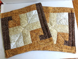 Quilted place mats calico browns golds set of 2 reversible insulated