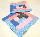 Pink blue calico quilted reversible mini mats set of 2 insulated snack place mats