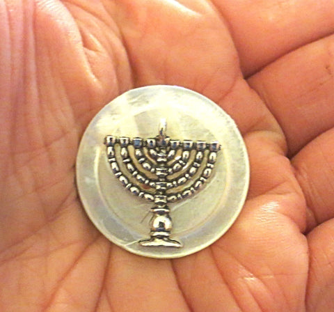 Hanukkah Menorah mother of pearl button pin or brooch for Chanukah  -- handmade gift for her